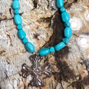 Turquoise necklace with sterling cross pendant